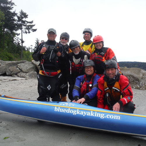 group of happy kayakers